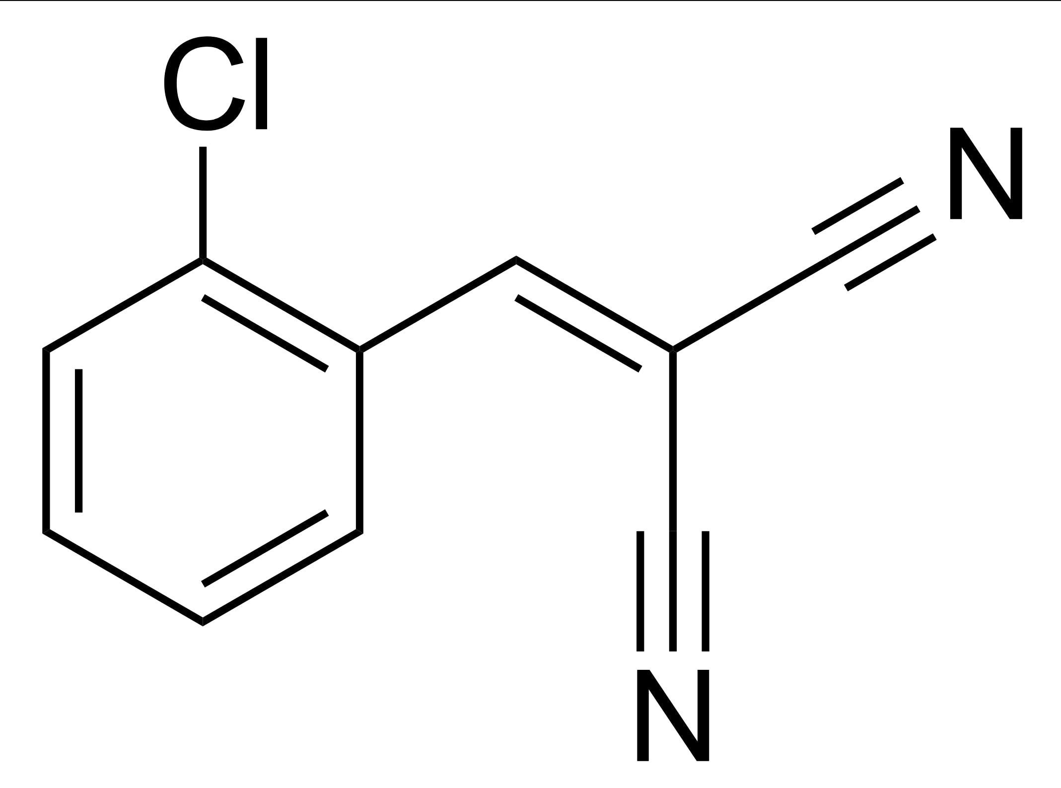 The chemical structure of tear gas irritant 2-chlorobenzalmalononitrile
