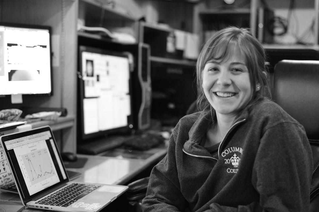Briley Lewis observing as an undergraduate at Palomar Observatory