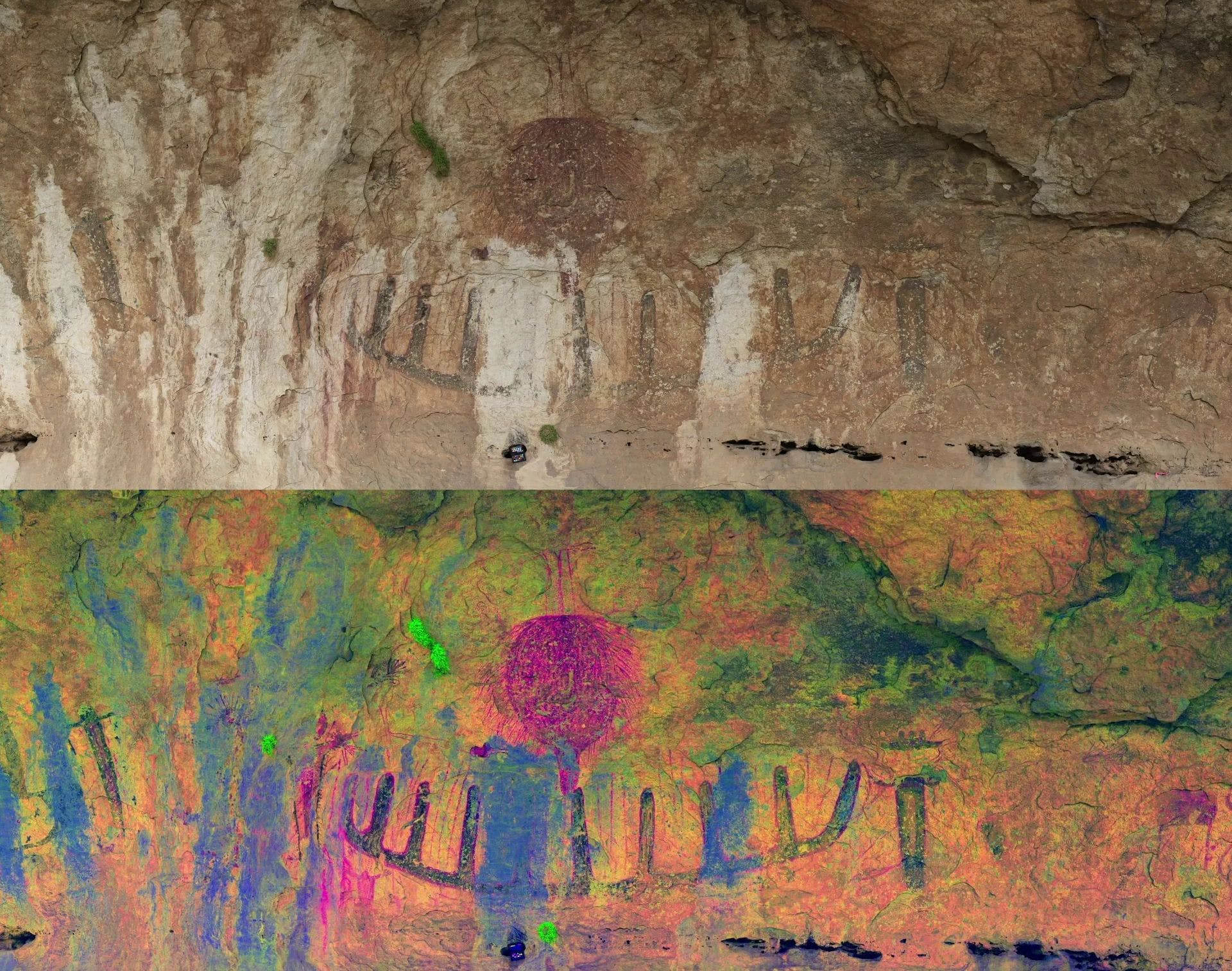 Image of cave painting in real color, on top, and corrected with a computer program to make the art more visible, bottom. In the Lower Pecos Canyonlands, Texas.