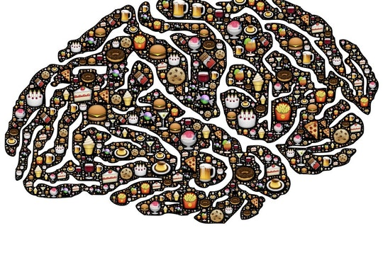 cartoon of brain with food in it