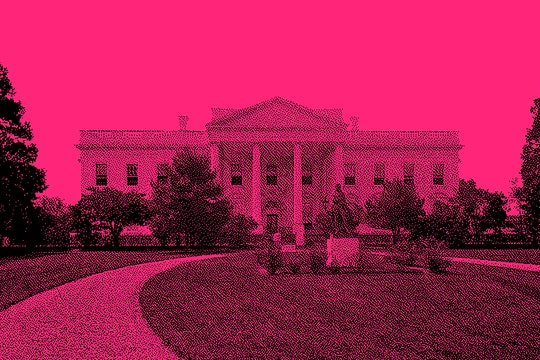 the White House with a pink overlay