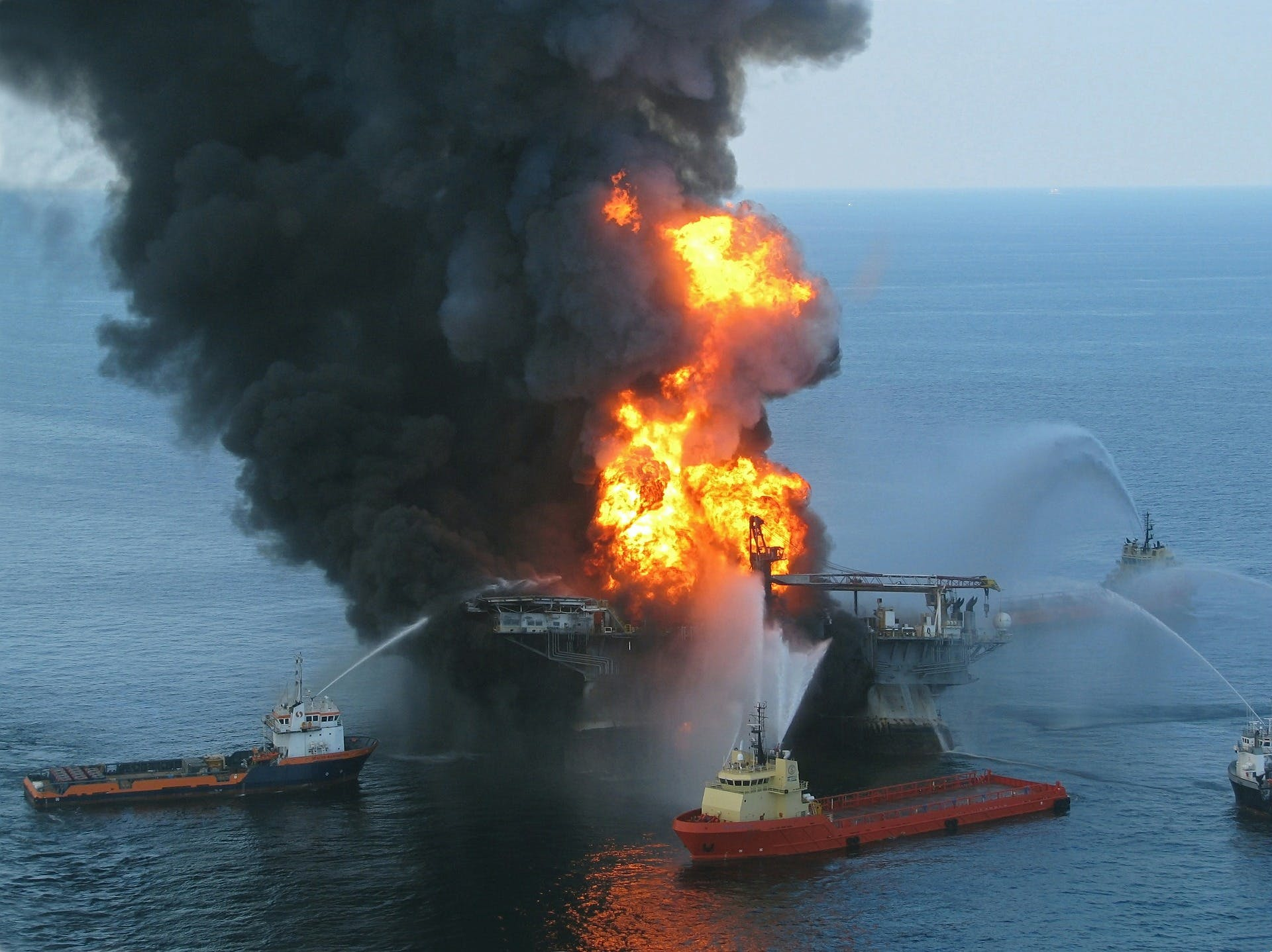 Oil rig explosion in the ocean