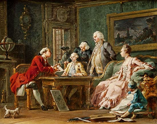 A painting of a bunch of rich Victorian-looking aristocrats seated around a table.
