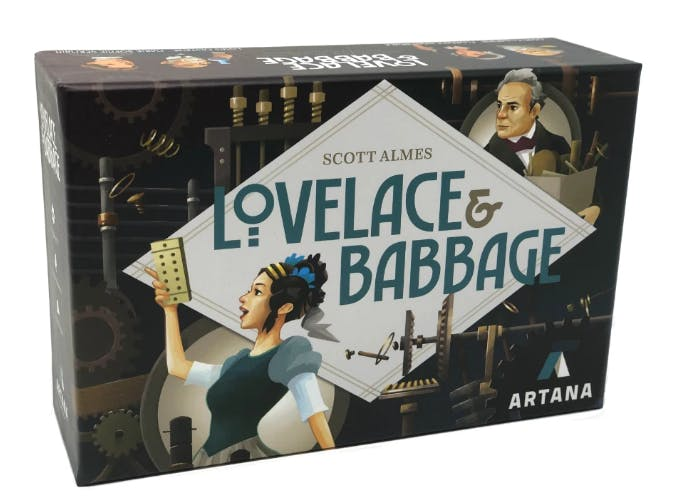 The box of Lovelace & Babbage, a board game from Genius Games.