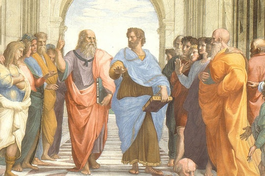 A painting of men looking at each other, the School of Athens by Raphael