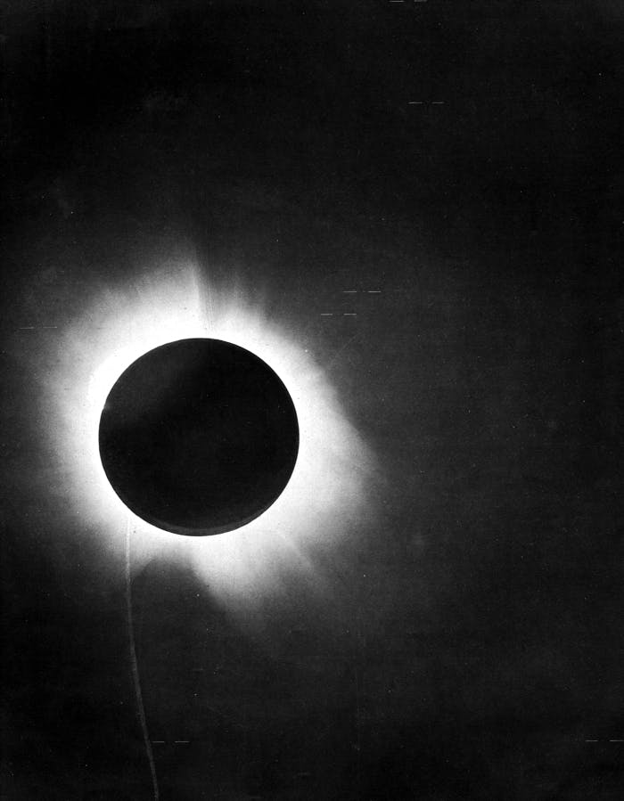 The 1919 solar eclipse, imaged from Sobral.