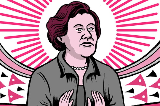A portrait of Maria Goeppert Mayer, in an article describing facts about her life.