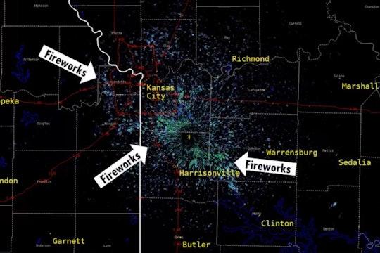 Fireworks over Kansas City picked up on Radar