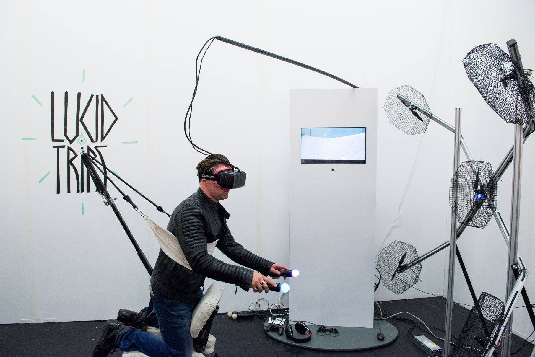 person using a VR rig