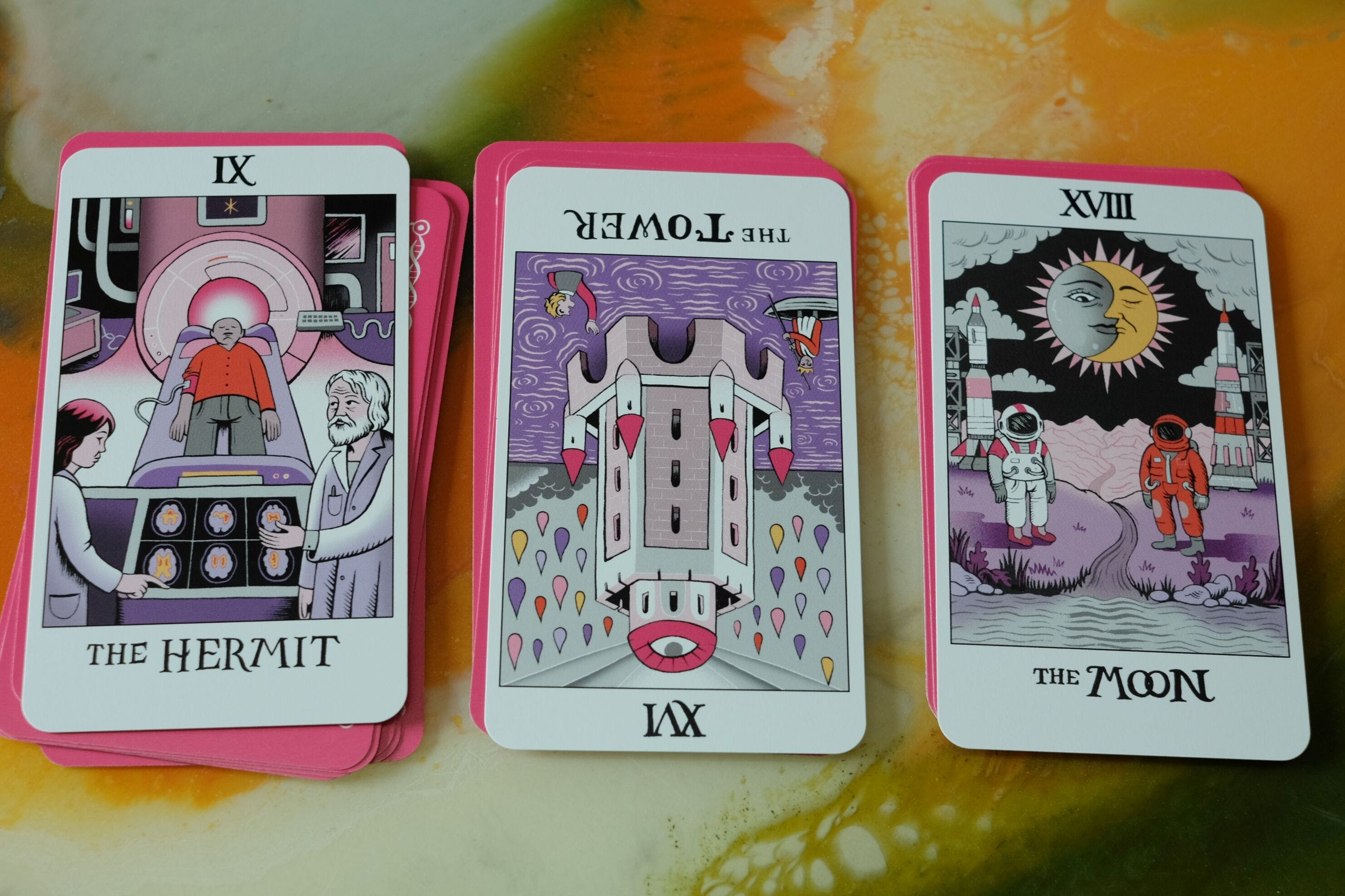 tarot spread using massive's women of science tarot deck