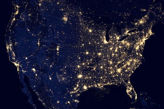 satellite image of usa at night