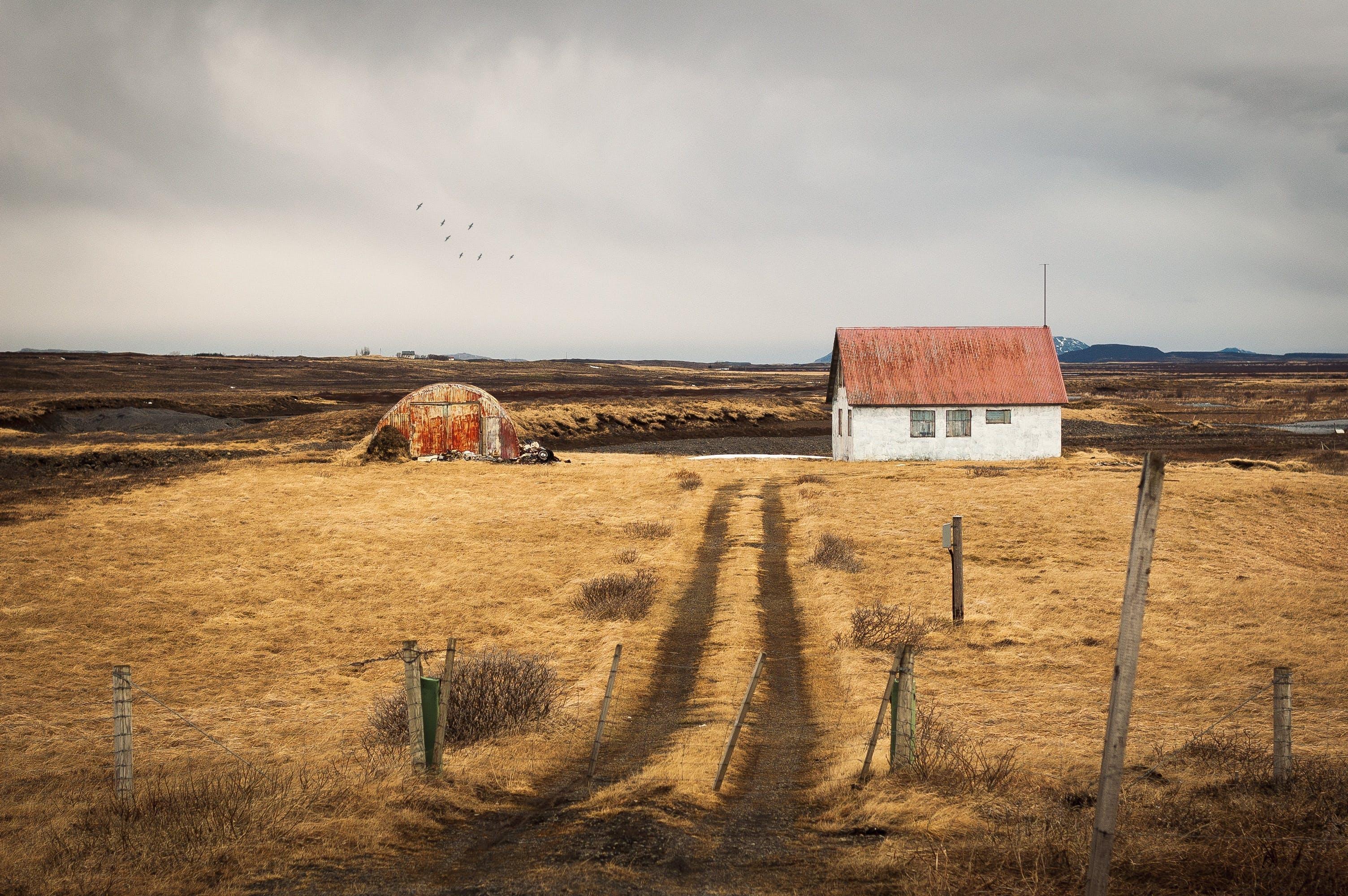 A house on a dry farm.