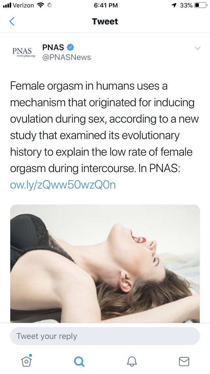 PNAS tweet screenshot - female orgasm research done in rabbits