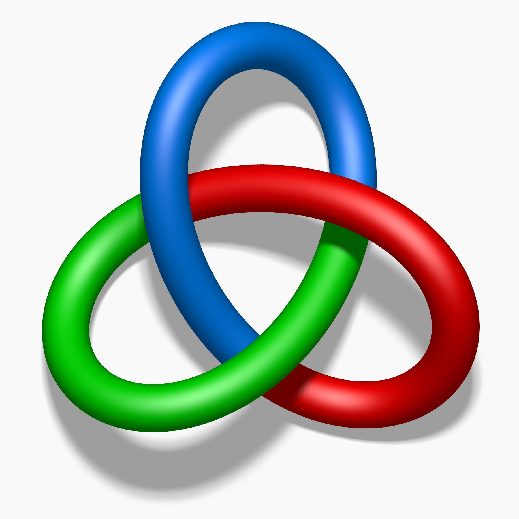 A trefoil knot with tricoloring. Each of the three loops of the knot is colored differently, one in blue, one in red, one in green