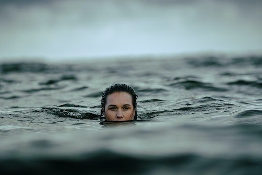 person in deep water