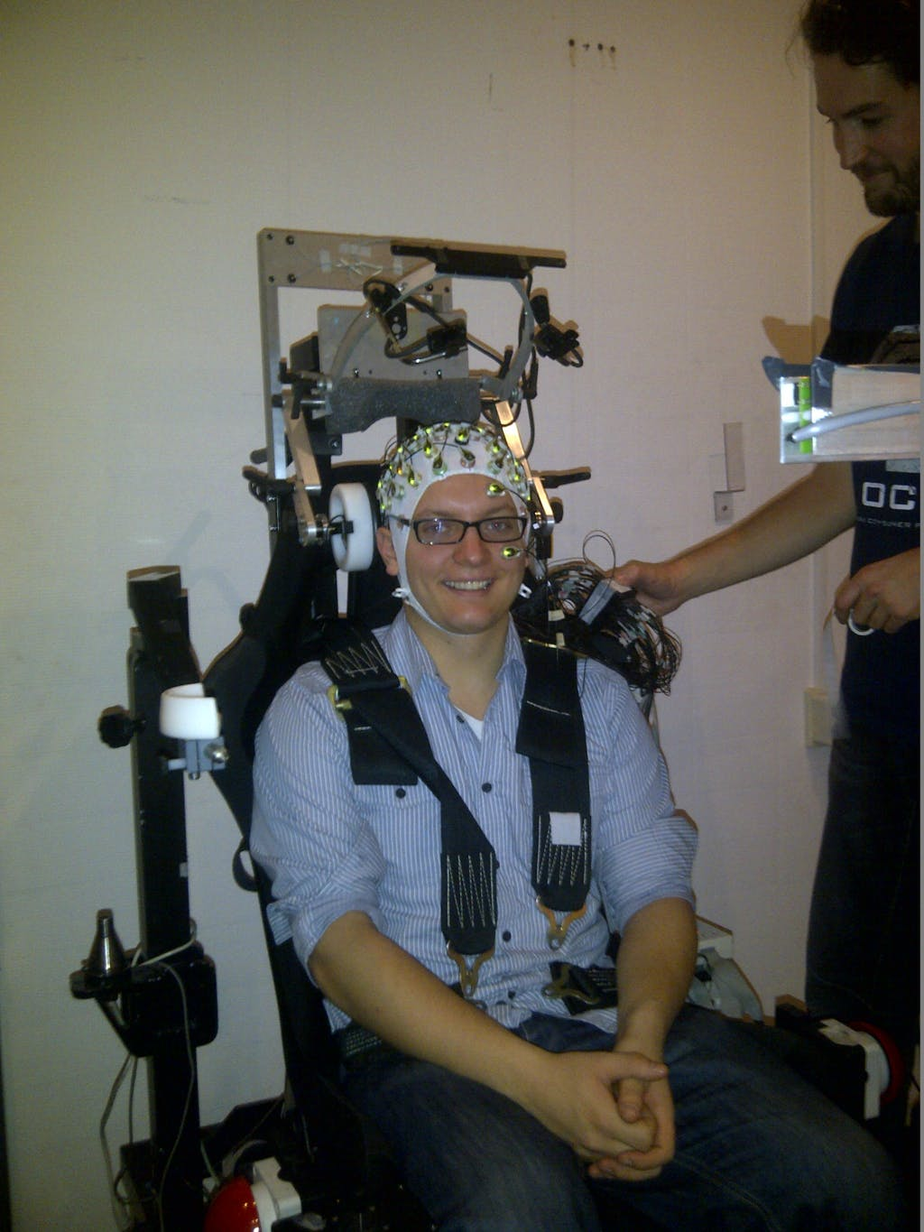 A person in a EEG set up ready to measure brain activity
