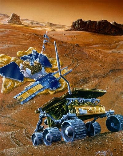 an illustration of two Mars rovers on the red planet