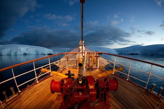 Deck of a boat with icebergs