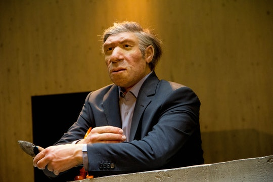 Neanderthal in a business suit at the Neanderthal Museum, Mettmann, Germany