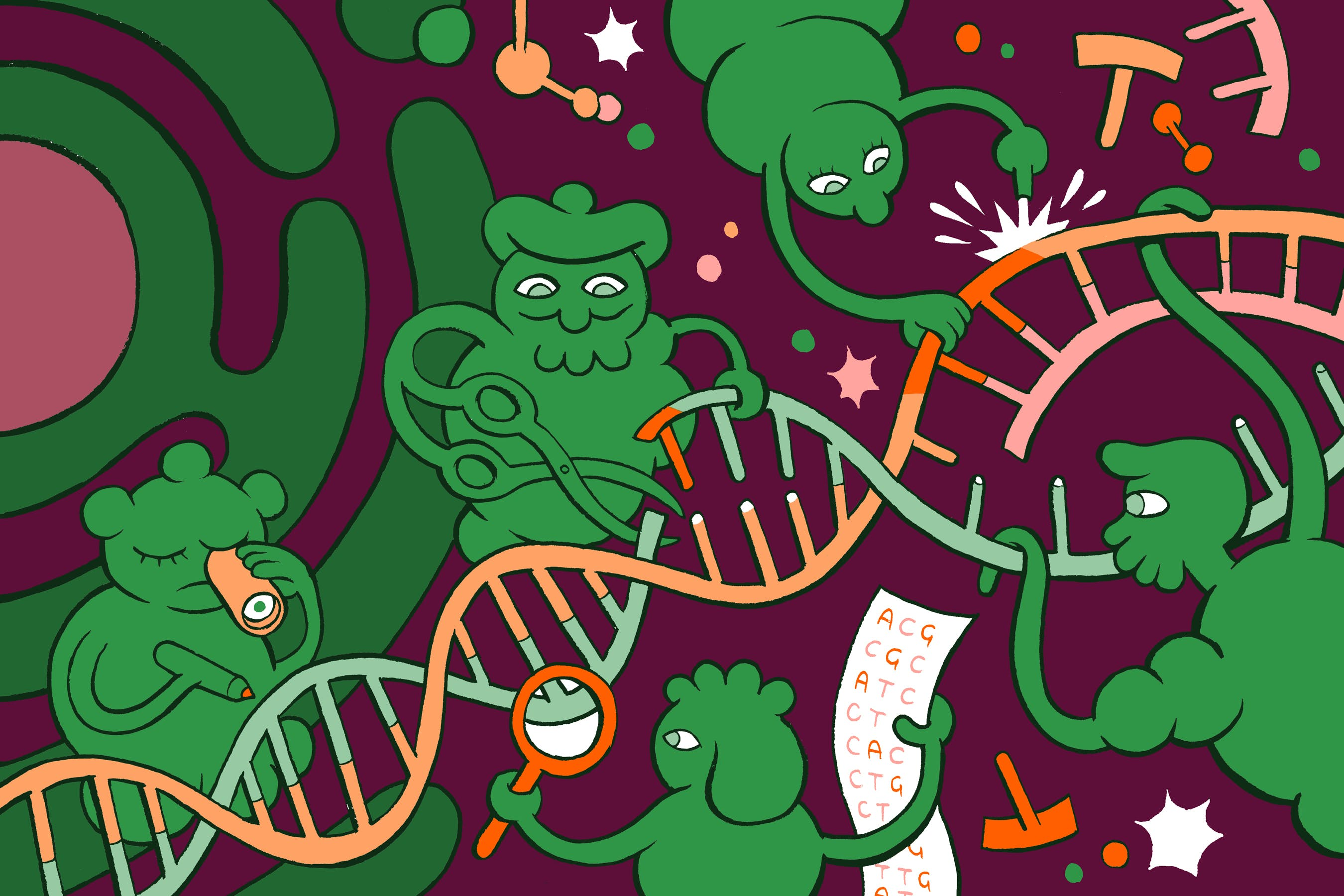 genetic engineering GMO cartoon with DNA