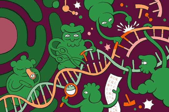 genetic engineering GMO cartoon with DNA