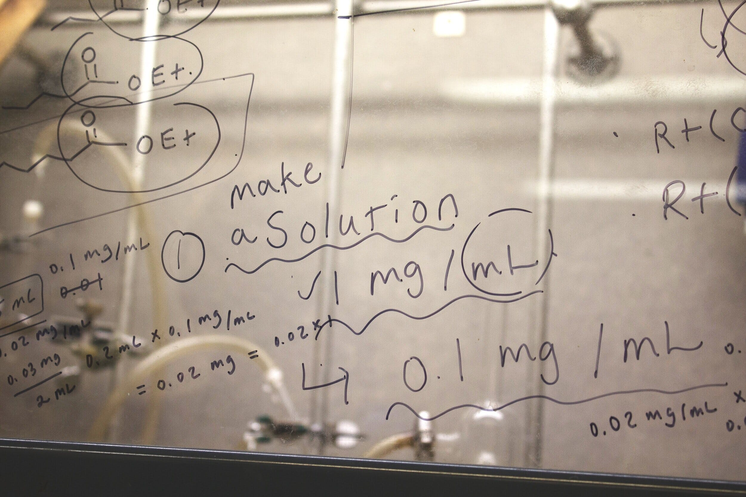 Some notes on a laboratory protocol written on a marker board.