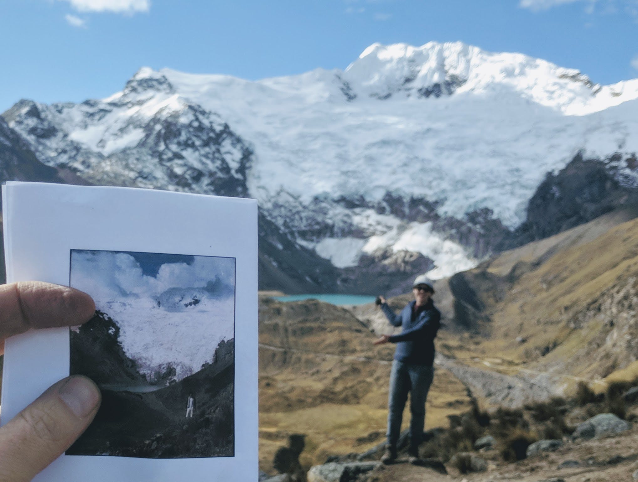 Somers recreates a photo from the 1980's of the Huaytapallana glacier