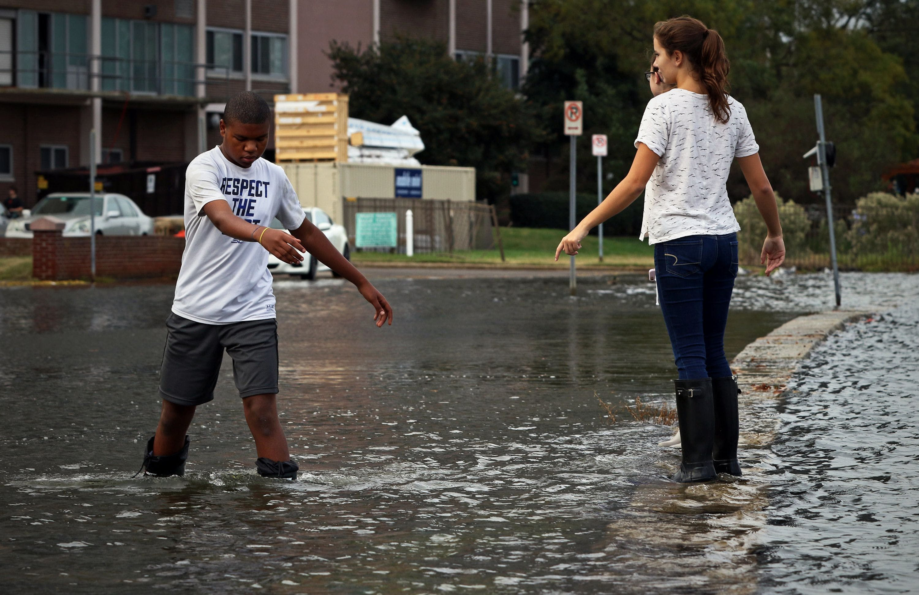 """Children in Norfolk, Virginia, record the """"king tide"""" after a flood in 2019"""