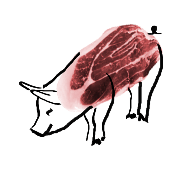 The outline of a pig is drawn over a leg of ham