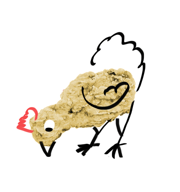 An outline of a chicken is drawn over a picture of a fried drumstick