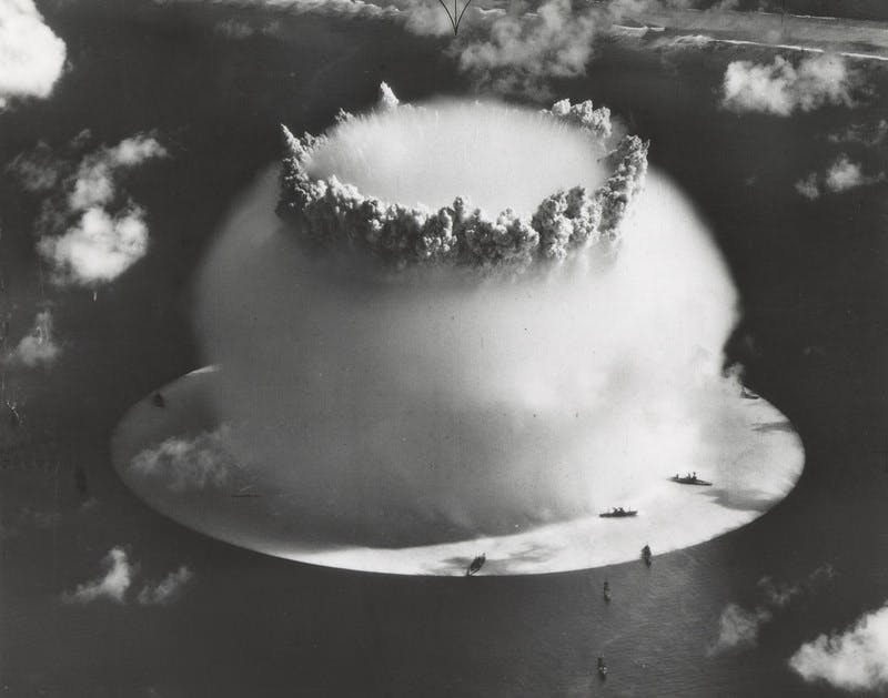 The Crossroads Baker nuclear bomb explosion at the Bikini Atoll.