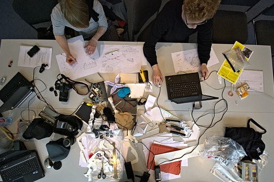 Two students working in a Makerspace