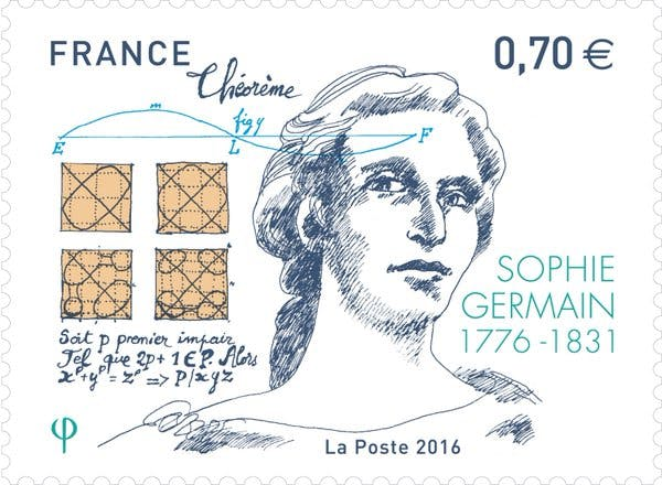 Stamp of Sophie Germain issued by France in 2016