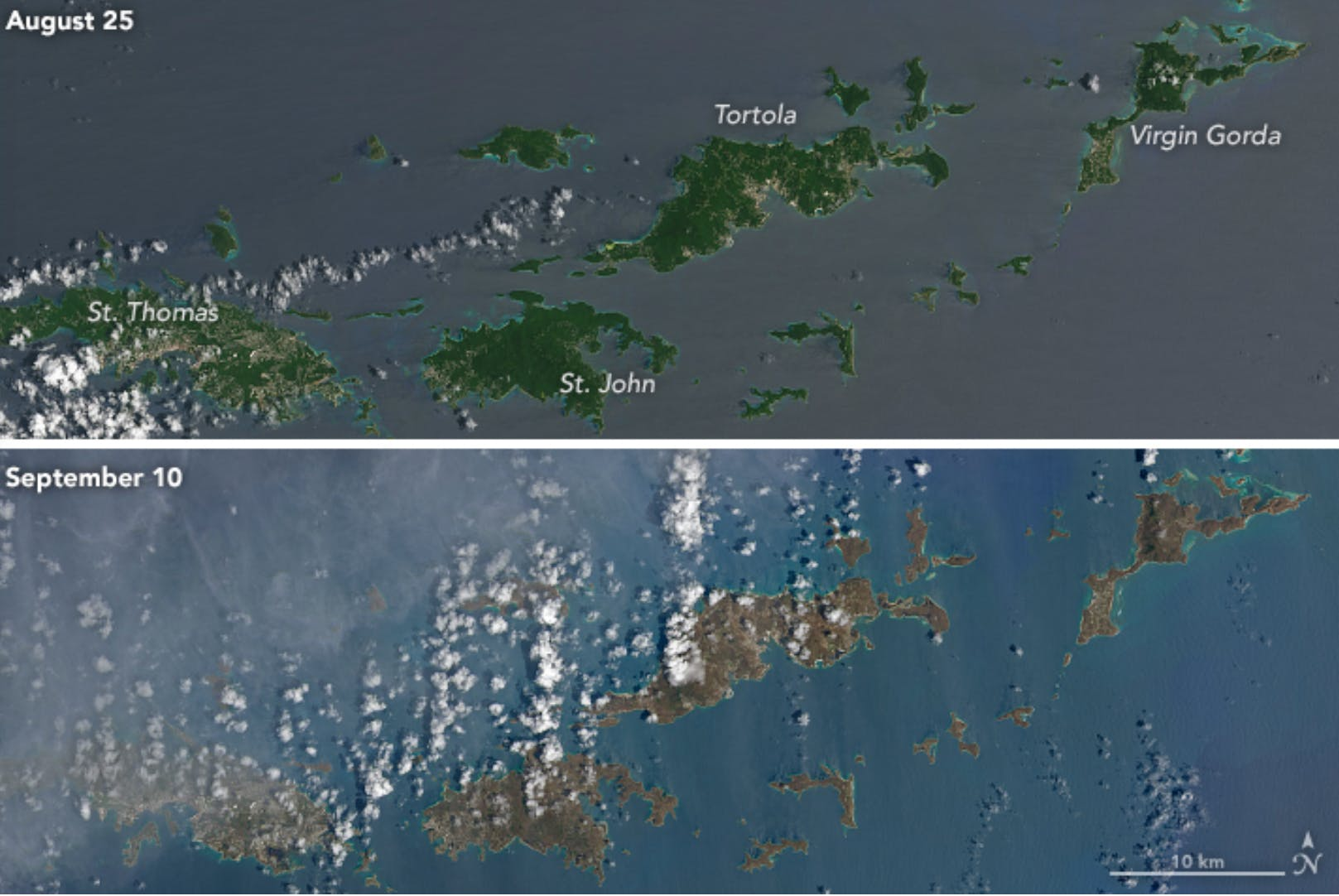 A side-by-side comparison shows the effects of Hurricane Irma, turning islands in the Caribbean brown