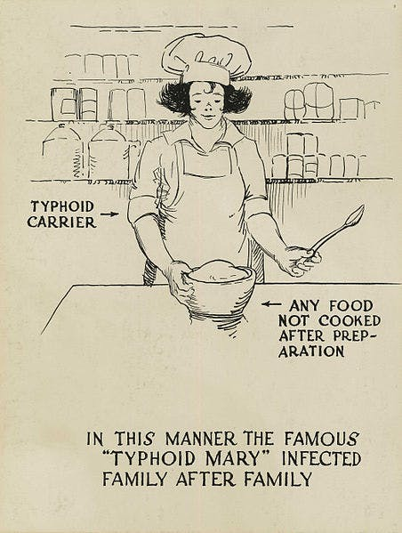 """A poster showing a baker, labeled as a """"typhoid carrier"""" as a potential source of disease through the food they bake."""