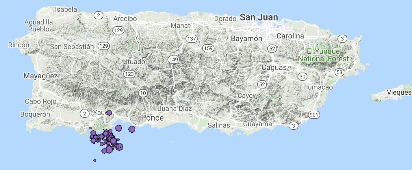 A map of seismic events around Puerto Rico that occurred in January 2020.