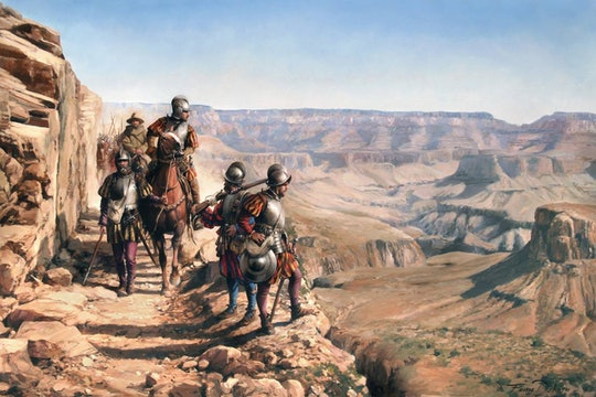Painting of Spanish conquistadors in Arizona. Painting by Augusto Ferrer-Dalmau.