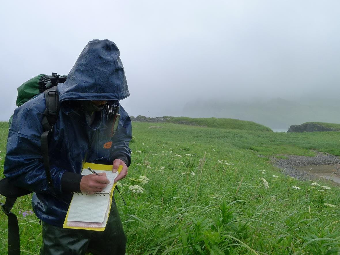 USGS Geologist Robert Witter documenting tsunami scour features near Stardust Bay, Alaska, in the Aleutian Islands.