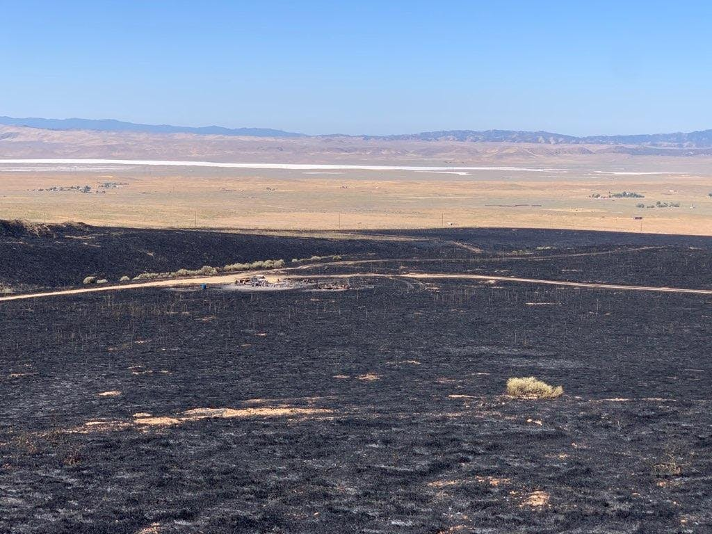 Overview of burned grass from Bend Fire