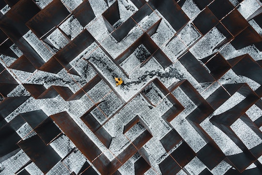 top-down view of a maze