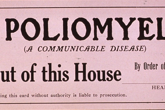 A California Board of Health quarantine card warning that the premises are contaminated by poliomyelitis.