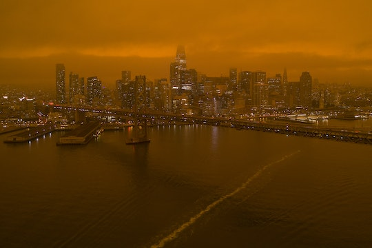 A view of San Francisco and its Financial District with an orange sky during the 2020 California wildfires
